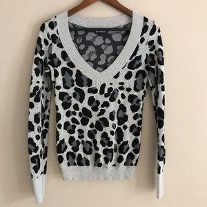EXPRESS Gray Leopard Print Sweater - S